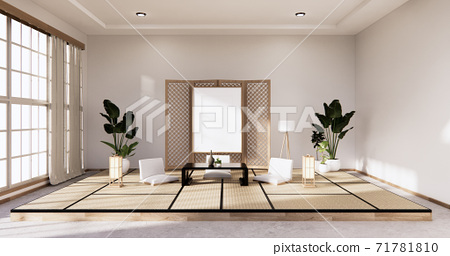 Traditional Japanese style living room mixed with modern design.3D rendering 71781810