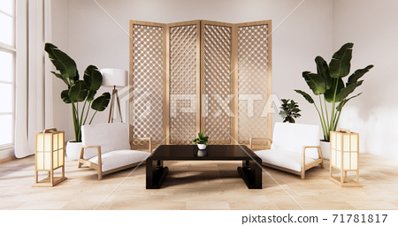 Traditional Japanese style living room mixed with modern design.3D rendering 71781817