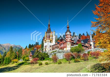 Amazing ornamental garden and royal castle,Peles,Sinaia,Transylvania,Romania,Europe 71783384