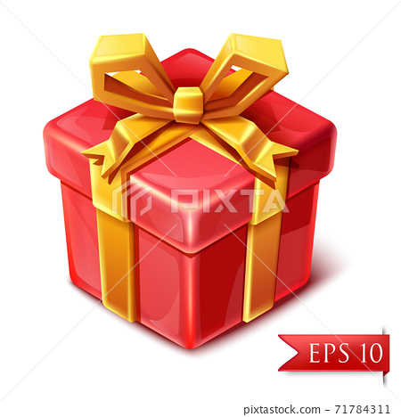 3d isometric vector box of present with golden ribbon in cute cartoon style. 71784311