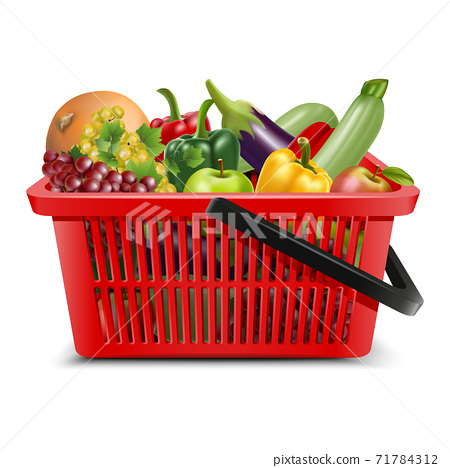 3d realistic vector supermarket  food carts plastic red empty baskets with black handle with fruit and vegetables inside, apples, grapes. Isolated on white background. 71784312