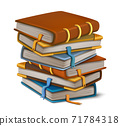 3d realistic vector cartoon style stack of books. Isolated on white background. 71784318