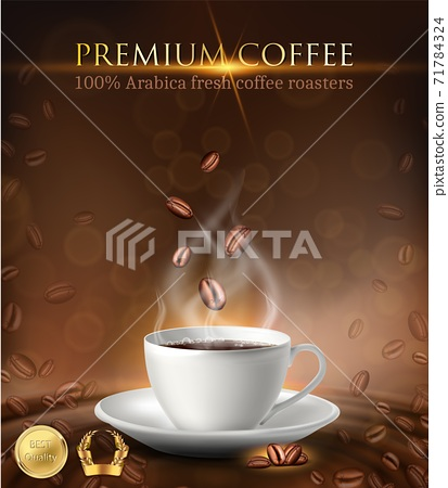3d realistic vector advertisement banner of coffee cup with coffee beans and gold labels. 71784324