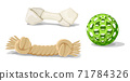 Vector cartoon style cat or dog toys, plastic ball, rope and bone. Isolated on white background. 71784326