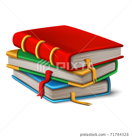 Vector old book stacked on white background.  71784328