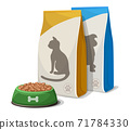 Vector cartoon style dog or cat food bowl and food packs. Isolated on white background. 71784330