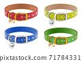 Collection of 3d realistic vector dog or cat collars in blue, red, yellow, green with silver medal. Isolated on white background. 71784331