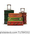 3d realistic vector collection of different sizes travel luggage, retro old style in leather. Isolated on white background. 71784332