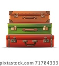 3d realistic vector travel collection of suitcases stacked on top of each other in leather. Isolated on white background. 71784333