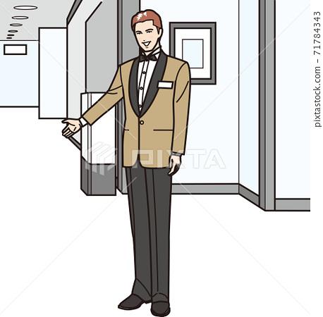 一個酒店的男人會微笑著引導你 71784343