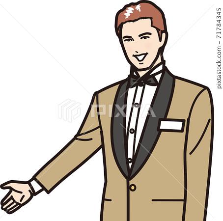 一個酒店的男人會微笑著引導你 71784345