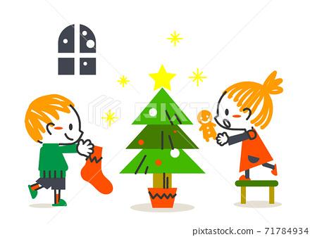 期待已久的兒童過聖誕節的歐式插圖 71784934