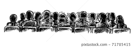 People at lecture hall sketch view from back 71785415