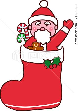 聖誕老人在聖誕靴的主線上清晰可見 71785787