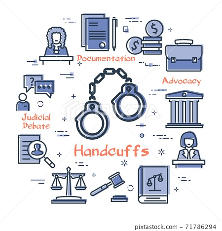 Vector line banner of legal proceedings - handcuffs icon 71786294