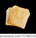Slices of bread toast isolated on black background 71786310
