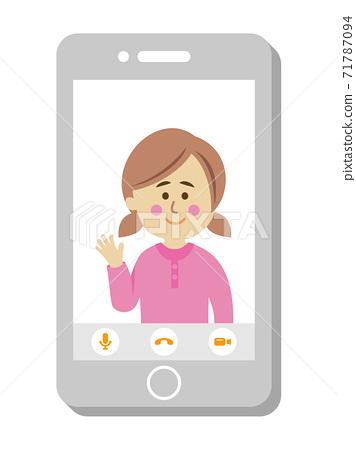 進行視頻通話的孩子的插圖圖像 71787094