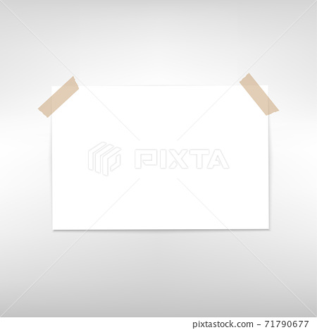 White pape with adhesive tape. Vector 71790677