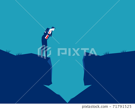 Businessman looking into a hole in the arrow shape. The falling arrow 71791525