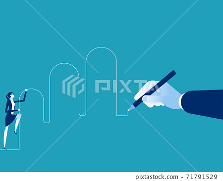Drawing hand with going up business partner. A Helping hand 71791529