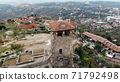 ancient historical ruins, old tower in the archelogical city, Kruje, Albania, arial shot from drone 71792498