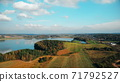 drone flying over beautiful golden autumn landscape, aerial nature footage shot 71792527