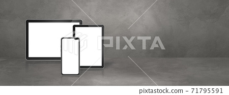 Mobile phone and digital tablet pc on concrete office scene. Background banner 71795591