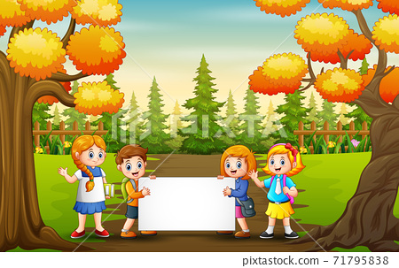 Autumn park landscape with school kids holding blank sign 71795838