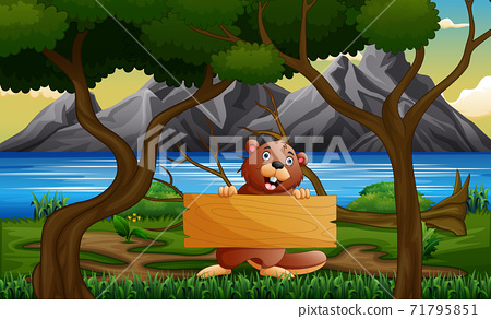 A beaver holding wooden sign under the tree 71795851