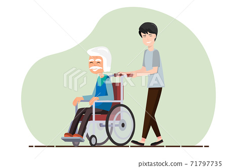 The son takes care of his father who cannot walk. Must be wheelchair Elderly health care concept 71797735