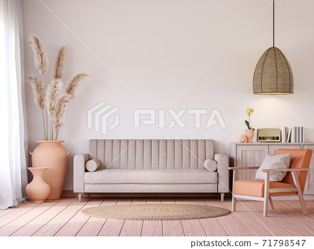 Vintage style living room with beige tone 3d render 71798547