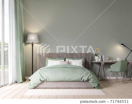 Bedroom in pastel green color with garden view 3D render 71798551