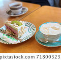 Strawberry mousse cake and wiener coffee 71800323