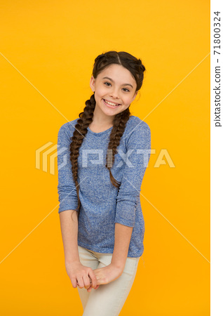 cute teenage girl. professional hairdo. kid fashion and beauty. small girl  71800324