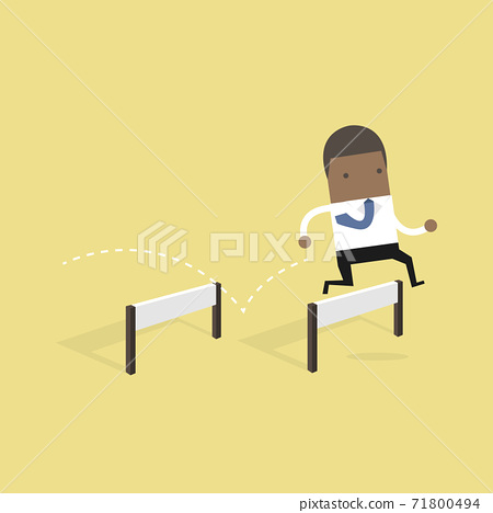 African businessman jumping over hurdle. 71800494