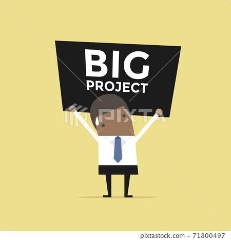 African businessman carrying a heavy big project. 71800497