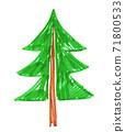Felt pen childlike drawing of fir tree 71800533
