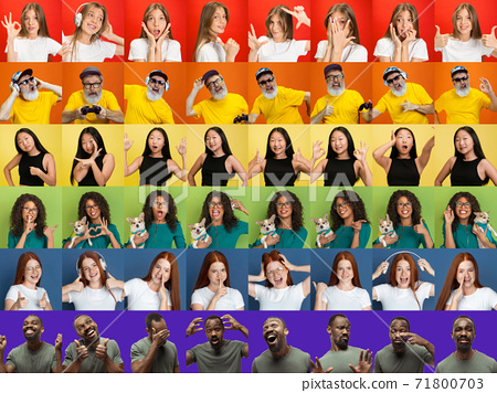 Collage of portraits of multiethnic, mixed age group of people forming a pride flag 71800703