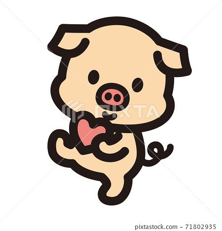 귀여운 돼지 캐릭터 71802935