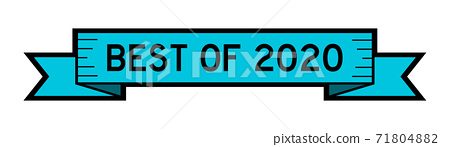 Vintage ribbon banner in blue color with word best of 2020 on white background 71804882