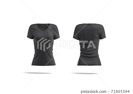 Blank black women slimfit t-shirt mockup, front and back view 71805394