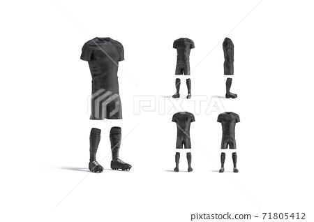 Blank black soccer uniform with t-shirt, short, socks, boots mockup 71805412
