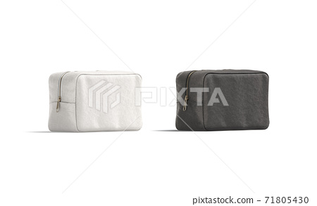 Blank black and white canvas cosmetic bag mockup, half-turned view 71805430