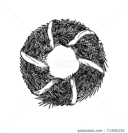 Christmas wreath from branches isolated on a white background. Sketch 71806292