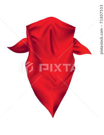 Red realistic bandana on neck. Youth fashion neck scarf or cowboy garment element template. Biker face scarf, bandanna neck shawl. Blank handkerchief unisex uniform. Western clothes 71807333