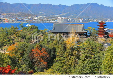 [Hiroshima Prefecture] View of Miyajima under fine weather (Itsukushima Shrine) 71808055