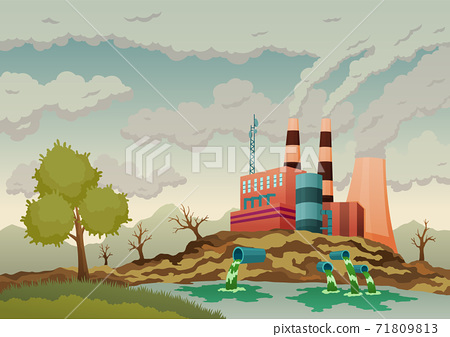Factory plant smokes with smog, trash emission from pipes to river water. Landscape with nature ecology elements and ecology problem concept in flat style. Dirty waste water polluted environment 71809813