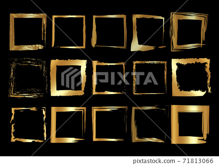 Gold frames set, Christmas theme square shaped old golden border in paint brush stroke style, vector luxury collection ornament with shadow isolated on black background 71813066