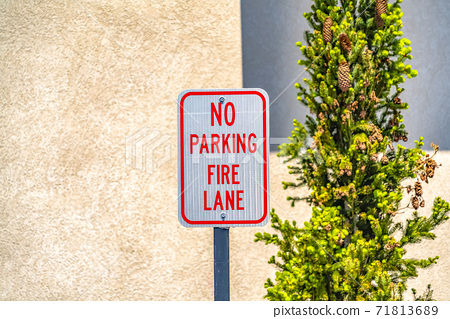 No Parking Fire Lane sign with a tree and wall in the background 71813689