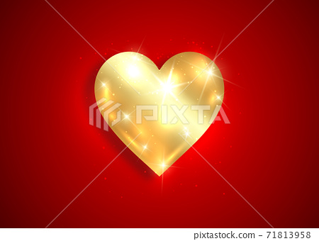 shiny gold heart logo 3D icon, Valentine's Day background with golden luxury heart  design, jewellery concept, love sign vector isolated on dark red background  71813958